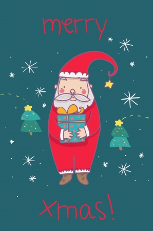 Santa Claus Merry Christmas cartoon greetings card Stock Photo