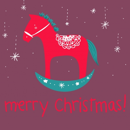 red wooden horse Merry Christmas greetings card