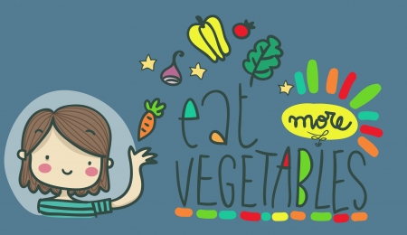 funny illustrated cartoon advice  eat more vegetables photo