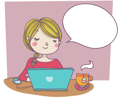 A funny smiling woman at laptop with empty balloon; cartoon style illustration
