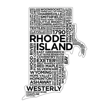 Rhode Island State Typography Ilustrace