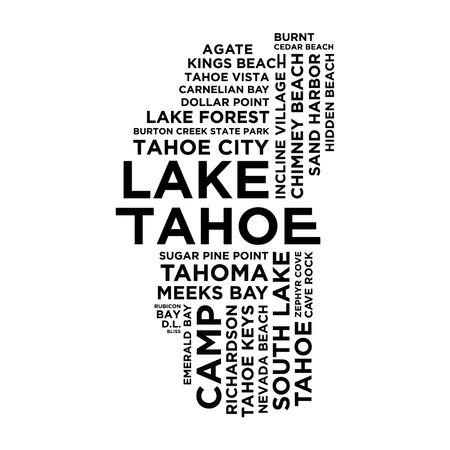 Lake Tahoe Typography Illusztráció