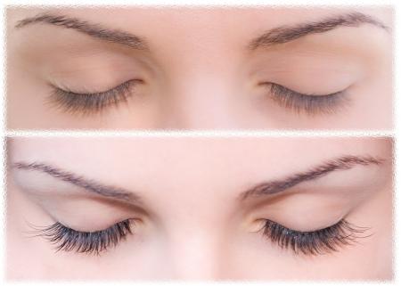 Close Beautiful eyes with natural eyelashes to and false eyelashes after Stock Photo