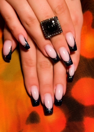 fingernails:  French manicure nails