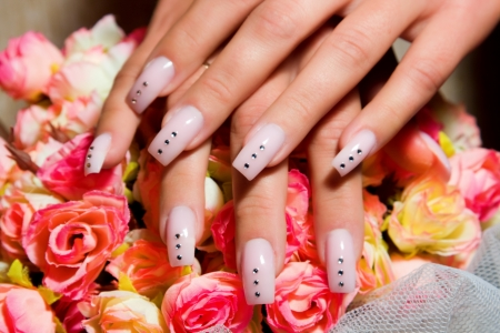 finger nail: Female hands, nails with beautiful Art manicure