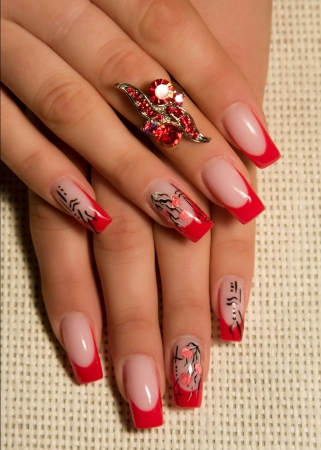 Female hands, nails with beautiful Art manicure Stock Photo - 15542076