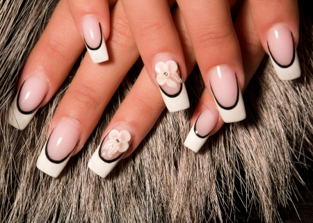 nail art: Female hands, nails with beautiful Art manicure