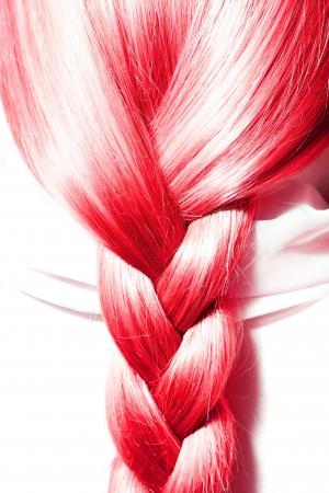hair texture: long red braid of thick hair
