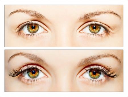 Natural and false eyelashes before and after