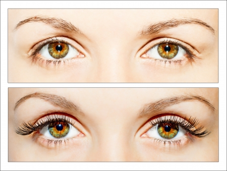 Natural and false eyelashes before and after