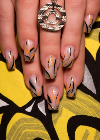 skin art: Female hands, nails with beautiful Art manicure
