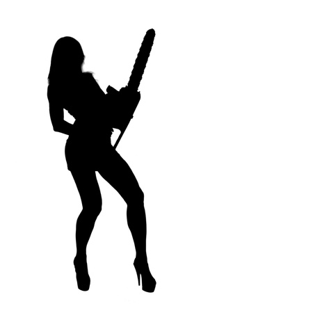 Sexy blonde girl builder with a chainsaw. silhouette. copyspace. Stock Photo