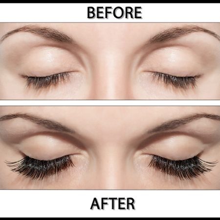 Close Beautiful eyes with natural eyelashes to and false eyelashes after  photo