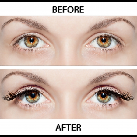Beautiful eyes with natural eyelashes to and false eyelashes after