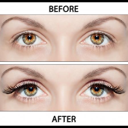 Beaux yeux avec des cils naturels aux faux cils et après Banque d'images - 18962694