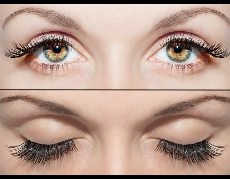 Close Beautiful eyes with natural eyelashes to and false eyelashes after  Zdjęcie Seryjne