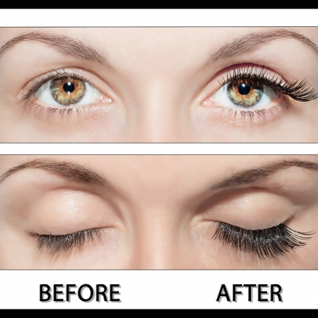 Close Beautiful eyes with natural eyelashes to and false eyelashes after  Stock Photo