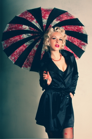 The girl in the style of Marilyn Monroe with an umbrella photo