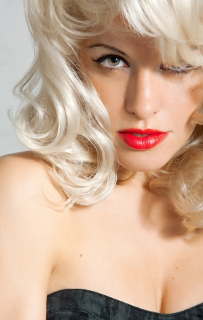 Retro glamor portrait of young beautiful blond woman  Hollywood style  Stock Photo