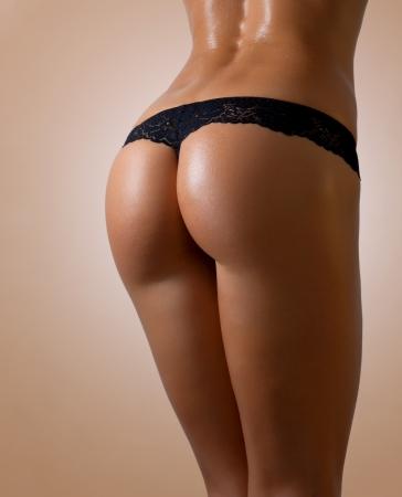 FEMALE IN BLACK LINGERIE  Stock Photo