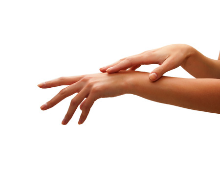 sensuality: care for sensuality woman hands Stock Photo