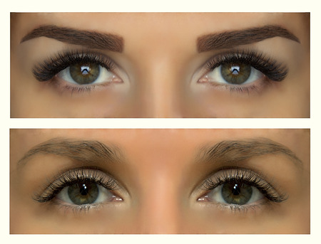 Modeling, painting and shaping eyebrows. Changes person. Before and after pictures.
