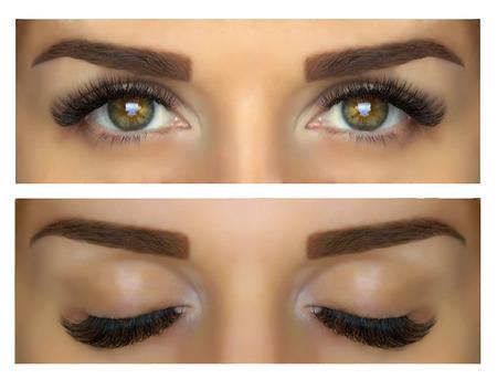 Modelage, peinture et mise en forme des sourcils. Beaux yeux avec des cils et des sourcils. Les yeux fermés et ouverts. Banque d'images - 48120087
