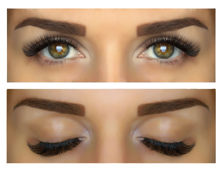 Modeling, painting and shaping eyebrows. Beautiful eyes with lashes and eyebrows. Closed and open eyes. Standard-Bild