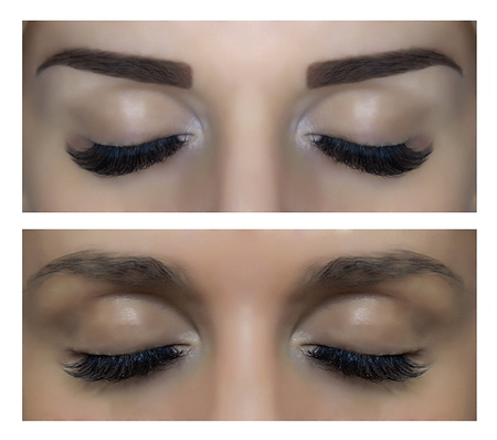 Modeling, painting and shaping eyebrows. Changes person. Before and after pictures. Banque d'images