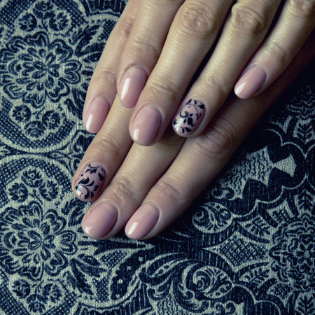 acryle: Female hands, nails with beautiful Art manicure