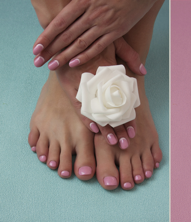 nailcare: Female hands and legs, nails with beautiful Art manicure Stock Photo