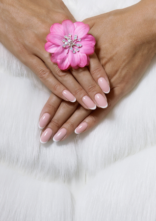 Stylish trendy female pink French manicure on white fur background with a pink flower. Banque d'images