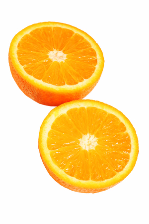 Orange with half isolated on white. Orange cut into two parts