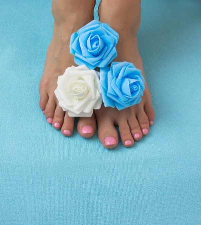 Healthy and elegant well-groomed female feet with the flowers on a blue background