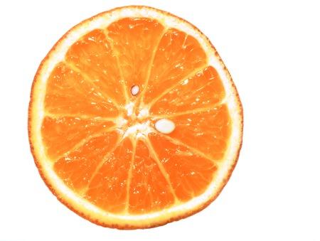 sliced orange fruit isolated on white background, pop art color concept
