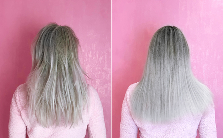 Blonde hair before and after treatment. Banque d'images