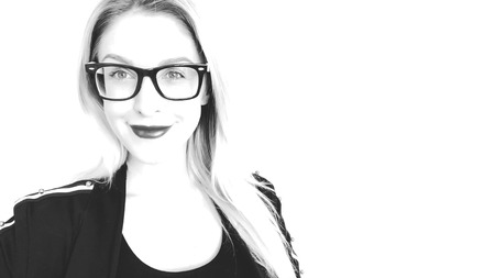 Beautiful woman in glasses smiling, Change of emotions. Black and white sketch. Archivio Fotografico