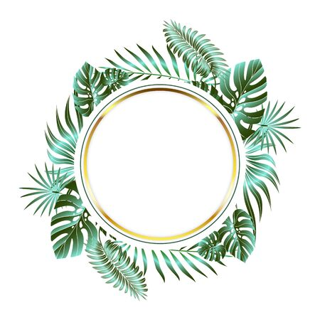 Jungle foliage design for postcard, label, web design or post in social networks. Paradise nature element. Botanical vector illustration isolated on white background.