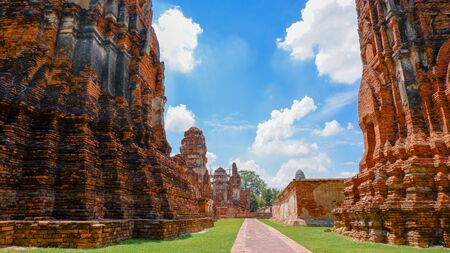 Old temples and castles have wall decay. History of Thailand.