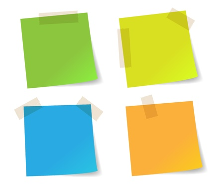 post it notes: Colorful stick note papers Illustration