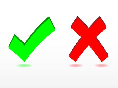 cancel icon: Check and cancel symbols