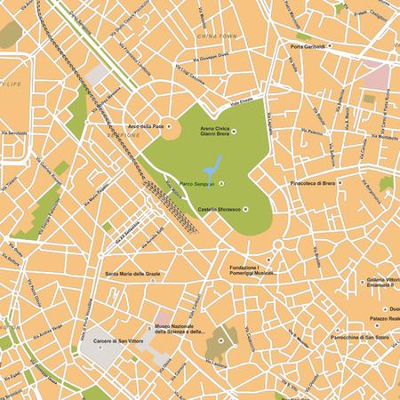 italia: Milano city vector map