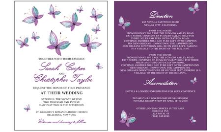 Bruiloft uitnodiging kaart met vlinder