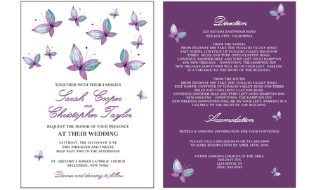 Wedding invitation card with butterfly Ilustrace
