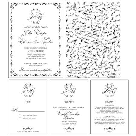Wedding Invitation Set Template Ilustrace