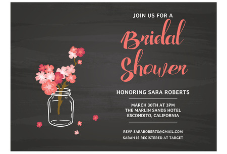 Chalckboard Bridal Shower Invitation Card Ilustracja