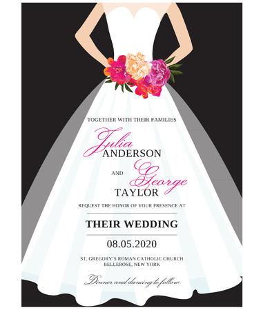 Invitation Carte de mariage stationnaire avec robe de mariée