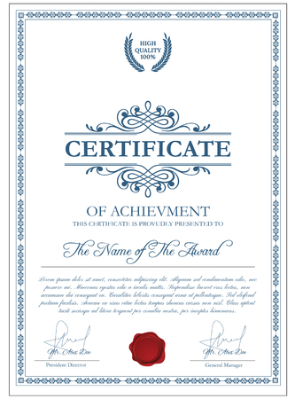 licence: Certificate template with guilloche elements. Blue diploma border design for personal conferment. Vector layout for award, patent, validation, licence, education, authentication, achievement, etc Illustration