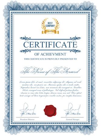 기로 쉐 요소가있는 인증서 템플릿. 개인 수당을위한 블루 디플로마 국경 설계. 특허, 검증, 라이센스, 교육, 인증, 업적 등을위한 레이아웃
