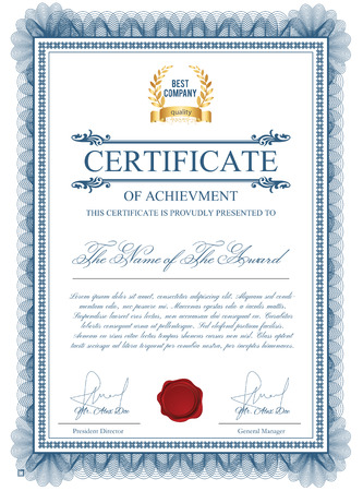 Certificate template with guilloche elements. Blue diploma border design for personal conferment. layout for award, patent, validation, licence, education, authentication, achievement, etc